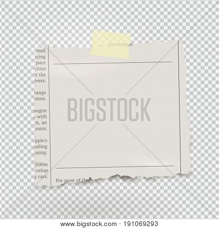 Vector piece of newspaper with adhesive tape on transparent background.