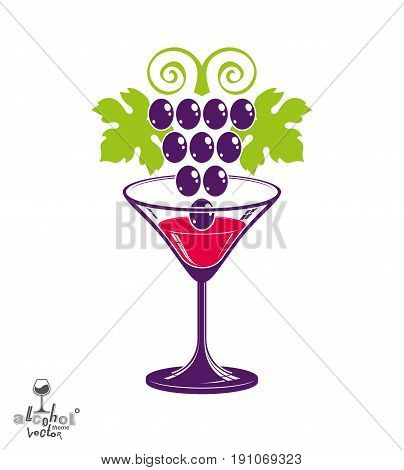 Winery Theme Vector Illustration. Stylized Half Full Martini Glass With Grapes Cluster, Racemation S