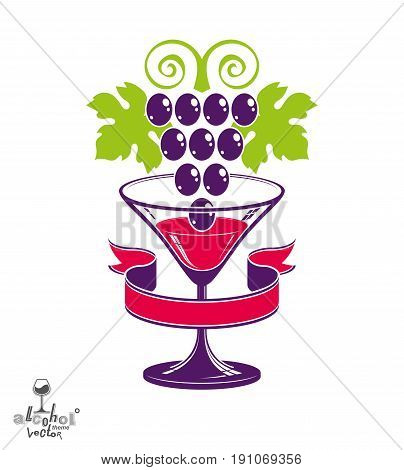 Winery Award Theme Vector Illustration. Stylized Half Full Glass Of Wine With Grapes Cluster And Dec