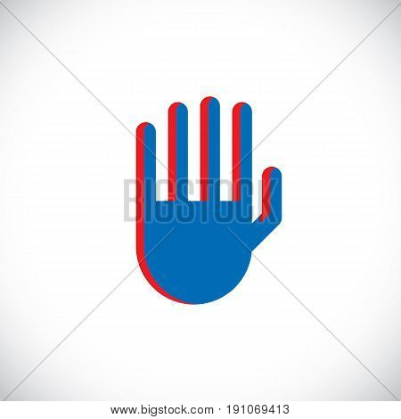 Stop hand gesture vector prohibition sign. Modern art illustration of human hand raised and symbolizing restriction forbidden concept sign created in flat design style.
