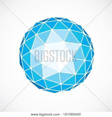 3D Form Made With Black Lines, Futuristic Origami Abstract Modeling. Blue Vector Low Poly Design Ele