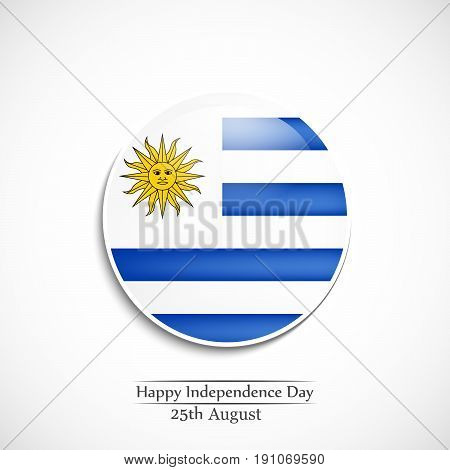 illustration of Button in Uruguay background with Happy Independence Day 25th August Text