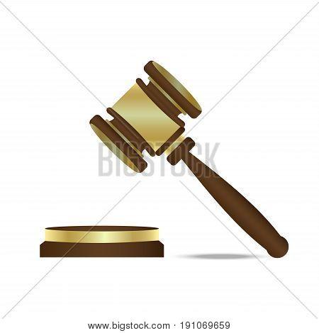 Judge gavel vector icon illustration. Trial vector