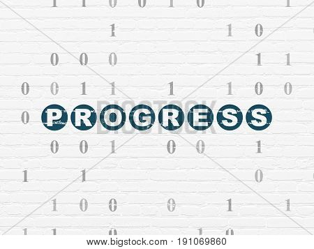 Finance concept: Painted blue text Progress on White Brick wall background with Binary Code