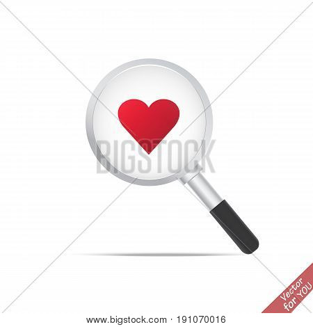 Search love icon. Magnifier transparent realistic vector. Magnifying lens vector