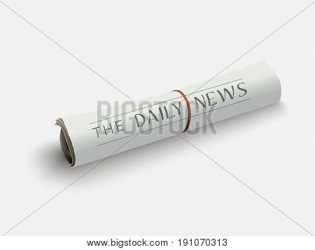 Vector illustration of rolled newspaper with the headline.