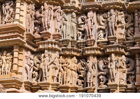 Bas-relief At Famous Ancient Temple In Khajuraho, India