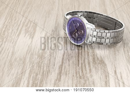 Silver mechanical wristwatch on wooden table, 3D illustration