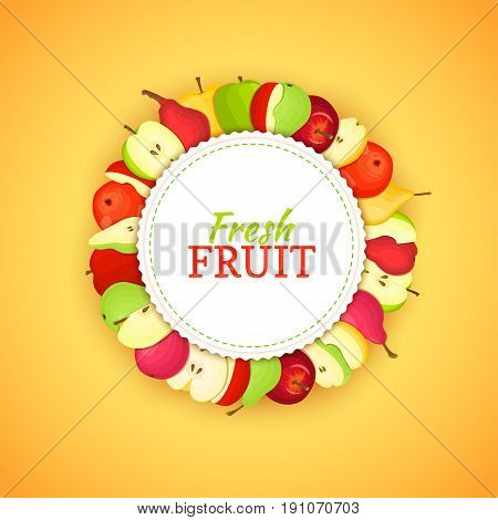 Round colored frame composed of delicious apple pear fruit. Vector card illustration. Circle apples pears frame. Ripe fresh fruits appetizing looking for packaging design of juice, breakfast food.
