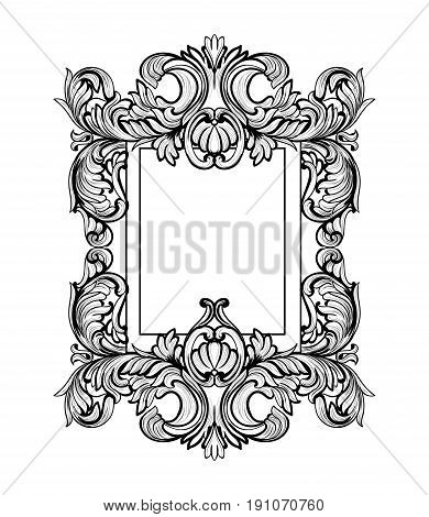 Rich Baroque Mirror frame. Vector French Luxury rich intricate ornaments. Victorian Royal Style