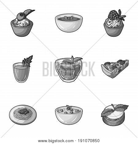 Pictures about vegetarianism. Vegetarian dishes, food vegetarian. Vegetables, fruits, herbs, mushrooms. Vegetarian dishes icon in set collection on monochrome style vector symbol stock web illustration.