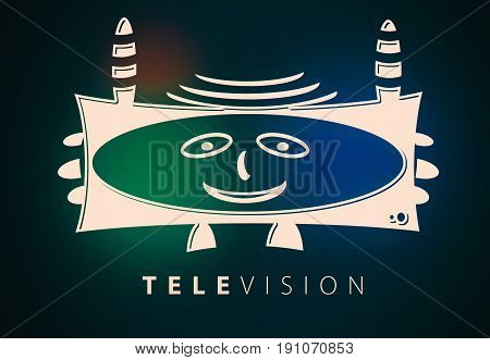 Happy television logo character illustration with red green and blue color blur