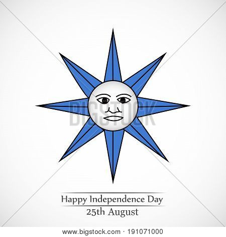 illustration of sun background with Happy Independence day 25th August text on the occasion of Uruguay independence day
