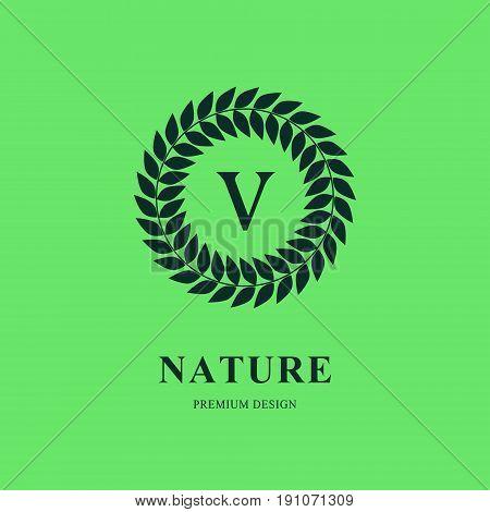 Abstract Wreath Monogram round template. Modern elegant luxury logo design. Letter emblem V. Mark of distinction. Green labels and organic emblems for products shops websites.. Vector illustration