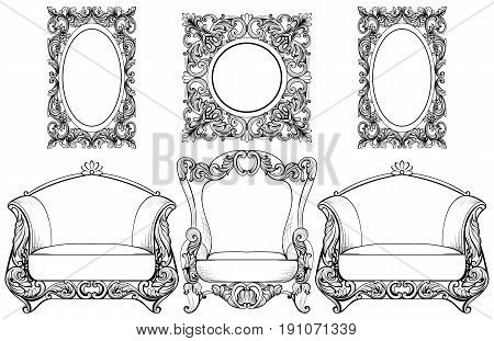 Rich Imperial Baroque Rococo furniture and frames set. French Luxury carved ornaments. Vector Victorian exquisite Style decorated