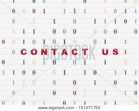 Business concept: Painted red text Contact us on White Brick wall background with Binary Code