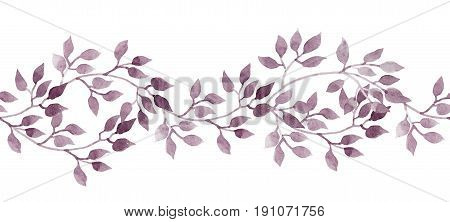 Seamless stripe banner with hand painted watercolour leaves. Repeated pattern.