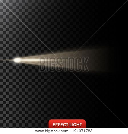 Vector illustration of a golden light ray, a light beam, a glow effect, an explosion, a flash on a black background. Design element