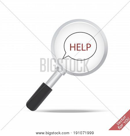 Magnifier transparent realistic vector. Magnifying lens vector. Icon help
