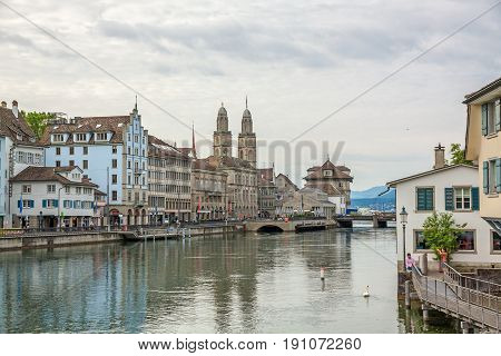 Downtown Zurich, Limmatquai With Grossmunster And Town Hall