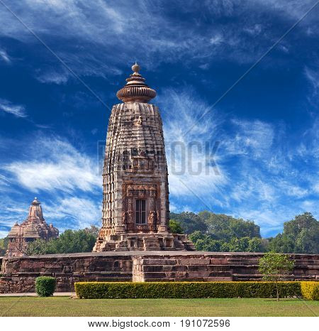Ancient temple in Khajuraho, India. Most Khajuraho temples were built between 950 and 1050 by the Chandela dynasty.