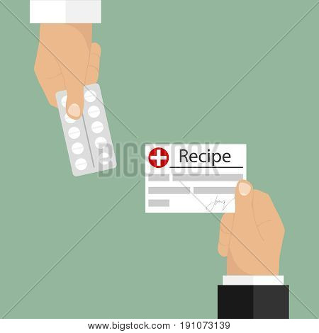 A recipe in exchange for a medicine. The hand holds out the recipe. Flat design vector illustration vector.