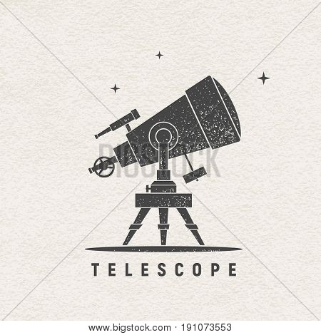 Telescope. Vector silhouette printed on textured paper. Eps8. RGB. Global colors
