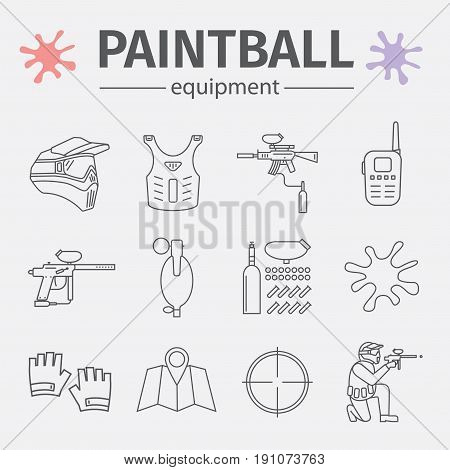 Paintball line icons set isolated on white background. Vector illustration