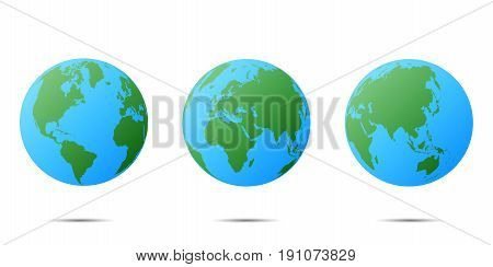 Earth globe isolated. Planet Earth set of different continents view. Ready for animation set of Earth globe.