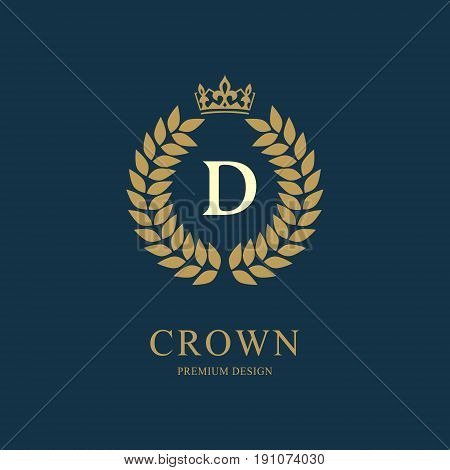 Wreath Monogram Luxury Design, Graceful Template. Floral Elegant Beautiful Round Logo With Crown. Le