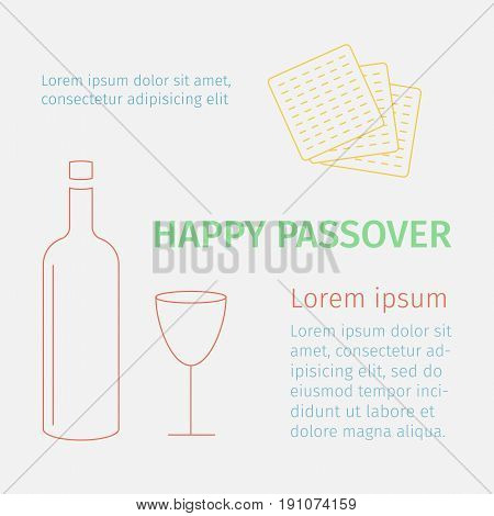 Happy Passover background with wine and matzoh. Line icons illustration.