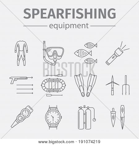 Spearfishing line icon set isolated on white background. Diving icons. Vector illustration