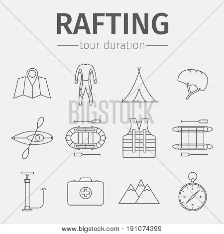Rafting equipment line icon collection. Vector illustration.