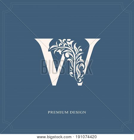 Elegant Letter W. Graceful Royal Style. Calligraphic Beautiful Logo. Vintage Drawn Emblem For Book D