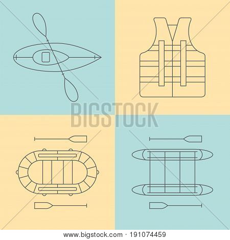 Water tourism. Rafting line icons set. Vector illustration