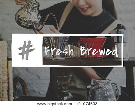 Coffee Fresh Brewed Word Hashtag Graphic