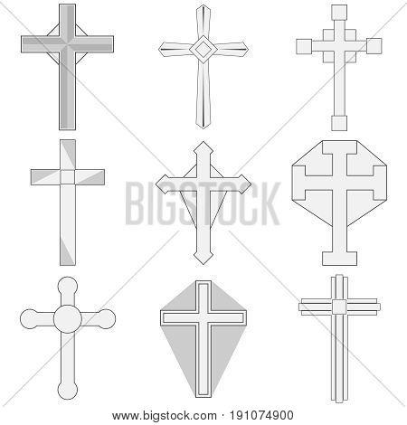 The Catholic cross the symbol of faith. Flat design vector illustration vector.