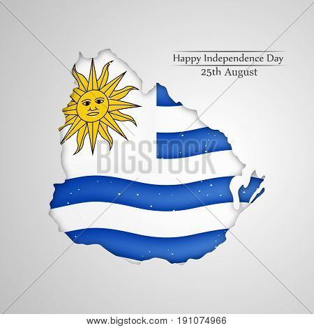 illustration of Uruguay flag background with Happy Independence day 25th August text on the occasion of Uruguay independence day