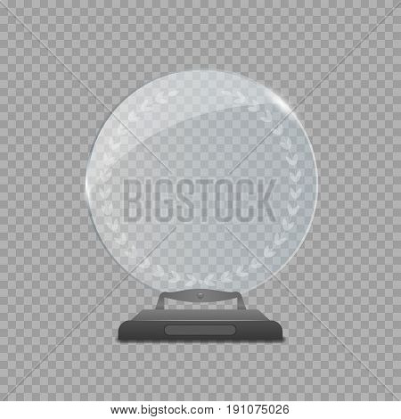 Realistic Glass Round Award over transparent background for business presentation or Awards ceremony. Best of the best symbol, winner sign