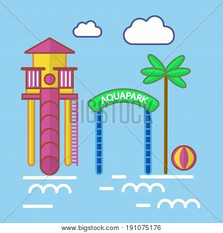 Aqua Park with slide and green palm tree colorful detailed vector poster in flat design. Entertaining establishment in summer season for children with water, many tubes and other attractions.