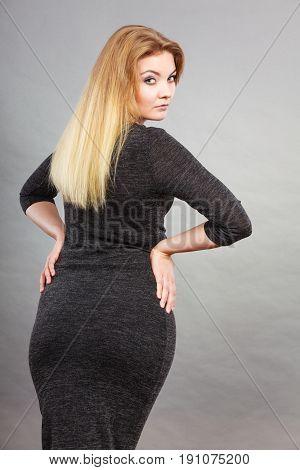 Woman Wearing Tight Dress, Back View