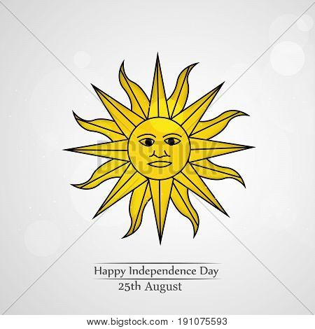 illustration of sun with happy independence day 25th August text on the occasion of Uruguay Independence day