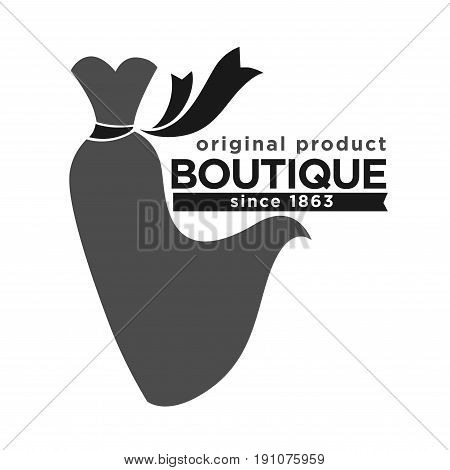 Boutique with original production since 1863 logotype. Monochrome long dress with heart-shaped top and black belt made of ribbon that waves on wind isolated vector illustration on white background.