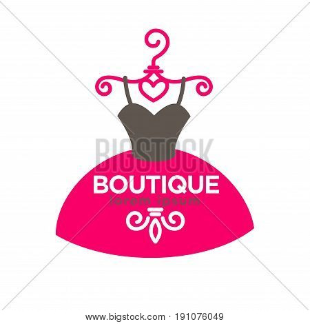 Luxury boutique with expensive exclusive dresses emblem with elegant ball gown with heart-shaped corset on swirly pink shoulders and sign on skirt isolated vector illustration on white background.