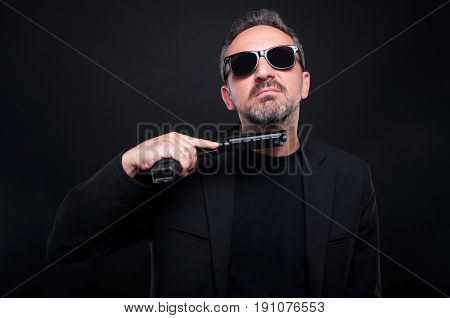 Mafia Gangster In Suit With Gun