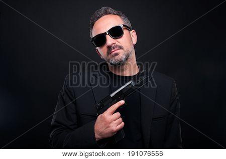Gangster Hitman Assassin.holding A Gun