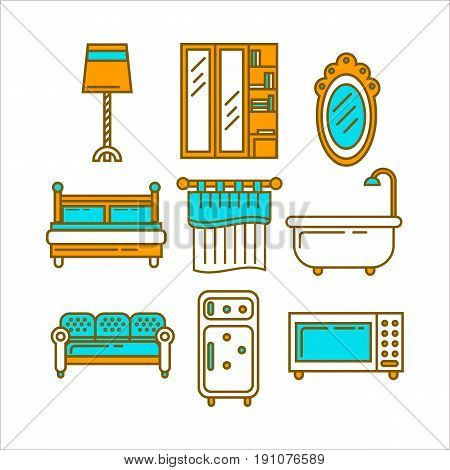 Furniture colorful collection for domestic usage isolated no white. Pieces of equipments for all rooms in apartment of house including wardrobe with glass doors, double bed, hanging over mirror