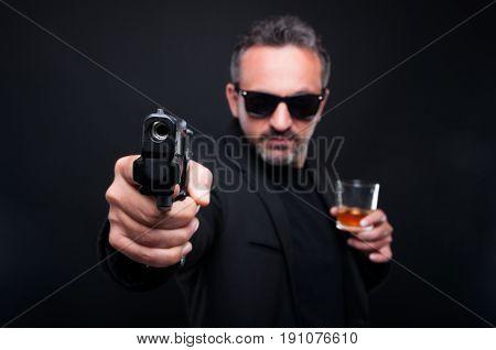 Gangster Man Aiming With Gun