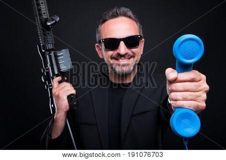 Dealer Mafia Gangster Holding Deathly Weapon