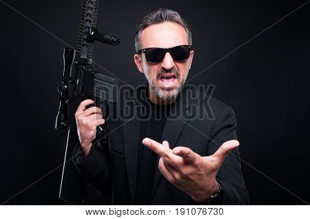 Aggressive Gangster With Rifle Fighting